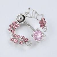 Hottest Pink Butterfly Button Dangle Barbell Bar Belly Navel Ring Body Piercing