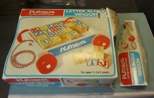 1976 Playskool Letter Block Wagon Toy 255 24 Wooden Blocks Yellow Wheels in Box