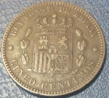 1878, Spagna, Alfonso XII (1875-1885), 5 Centimos, Spl