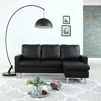 Modern Bonded Leather Sectional Sofa - Small Space Adjustable Couch - Black