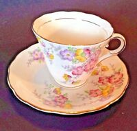 Colclough Pedestal Teacup And Saucer - White Yellow Pink And Purple - England