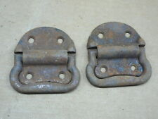 "PAIR ANTIQUE CAST IRON CARPENTERS CHEST TRUNK  FOLDING HANDLES 3-3/4"" x 3-3/8"""