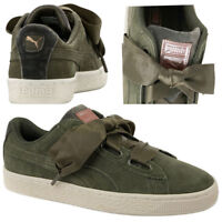 Puma Suede Heart Velvet Rope Womens Trainers Lace Up Shoes Olive 365111 01  U36 5cdc0aa99