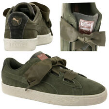 8c86b97453fe Puma Suede Heart Velvet Rope Womens Trainers Lace Up Shoes Olive 365111 01  U36
