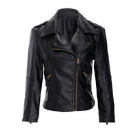 New Womens Biker Jacket Faux Leather Fitted Gold Zip Jacket RRP $60 Australia