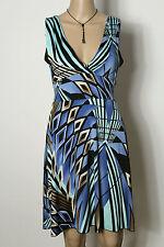 Kleid Gr. 36-38 blau-schwarz-beige knielang ärmellos Muster Slinky Kleid