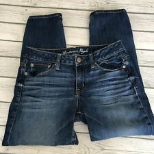 AMERICAN EAGLE Slouchy Jeans Womens Sz 4 Regular Dark Wash Stretch Whiskering