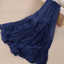 100% Silk Plain Pure Silk Scarf Shawl Wrap hijab Maxi Women 175cm*96cm