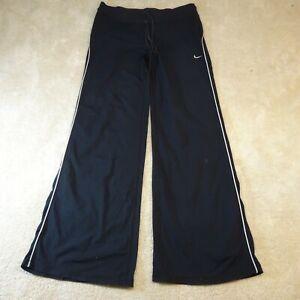Nike Fit Dry Pants Women Medium Black White Athletic Lace Up Nylon Ladies *