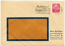 """STUTTGART, Briefumschlag 1937, Max Striffler Spezial-Werkzeug-Fabrikation """"Radfa"""