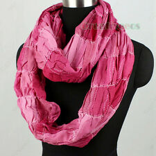 Fashion Women's Wrinkle Striped Cotton Infinity Loop Cowl Eternity Casual Scarf