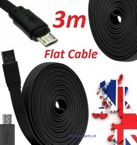 3M Long Flat USB Charger Charging Play Cable Lead For XBOX ONE & PS4 Controller