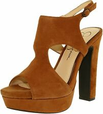 Jessica Simpson Barrow Autumn Brown Kid Suede Open Platform Pump Sandals 8 M