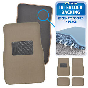 Interlock Backing Carpet Car Floor Mats No-Slip Keeps Mats in Place Med Beige