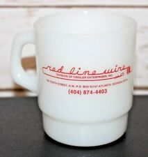 Red Line Wire Crigler Enterprises Fire King Anchor Hocking Milk Glass Mug USA
