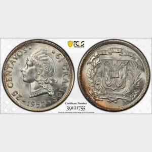 1952 Dominican Republic 25 Centavos. PCGS MS 65. KM-20. Attractive Luster.