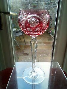 Crystal - Single Cranberry Hock Wine Glass - 20.5cm