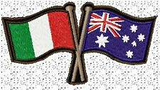 AUSTRALIA ITALY CROSSED FLAGS BIKER PATCH 100 X 55MM