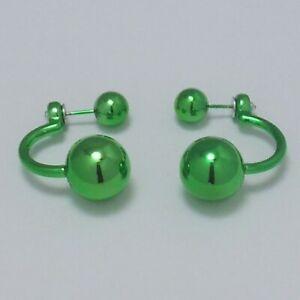 Pretty Green Double Ball Beads High Gloss 'C'-shaped Stud Earrings: UK Seller