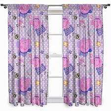 PEPPA PIG 'HAPPY' READY MADE PAIR OF CURTAINS - 66 x 72 Inch - GIRLS PINK LILAC