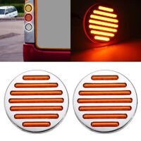 "2X LED Amber 4"" Round Stop Tail Turn Signal Light Truck Tractor Trailer Bus 12V"