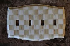 Quad Toggle Switch Plate made w/Mackenzie Childs Parchment Check Paper