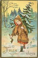 Christmas Girl~Brown Hooded Coat~Hand Ax~Toting Tree~Pine Cones~Gold Emboss