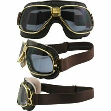 Nannini Biker Padded Motorcycle Goggles Brown Leather Gold Frames Clear Lens