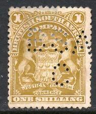 Rhodesia 84b Profundo Oliva Bistre, Perfin, sin goma de mascar