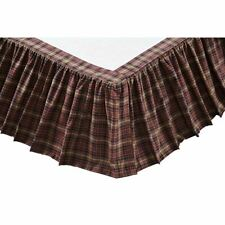 COUNTRY PRIMITIVE RUSTIC FARMHOUSE ABILENE STAR PLAID QUEEN BED SKIRT VHC BRANDS