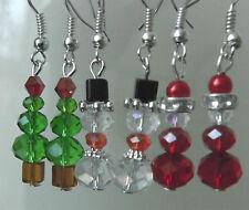 & Snowmen Crystal Earrings Christmas Tree & Santa Claus