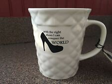 OLD POTTERY MUG.WITH THE RIGHT SHOES I CAN CONQUER THE WORLD NEW LITTLE THOUGHTS