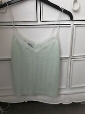 New Look Mint Green Strappy Crop Top with Lace Detailing (Size 6)