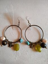 Round Earrings With nature stones & bee - Just Beautiful - Bronze color