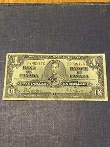 1937 $1 DOLLAR BILL K/L 7998176 BANK OF CANADA CANADIAN CURRENCY OLD PAPER MONEY