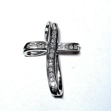 10K White Gold Channel Set Diamond Cross Pendant NEW  #8951