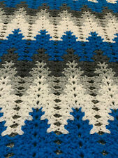 New Large Hand Crocheted Afghan Electric Blue, White, Lt Grey, Dk Grey in a Chev