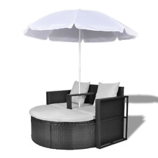 Gartenlounge Polyrattan Lounge Set Gartengarnitur mit Sonnenschirm Liege Schwarz