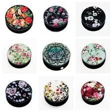 Girly Floral Mandala Picture Ear Plugs Flesh Tunnels 6mm - 25mm you choose..