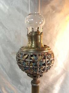 ANCIENNE TRES GRANDE LAMPE A PÉTROLE HUILE BRONZE SIGNÉE BH DATÉE 1888 OIL LAMP