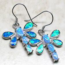 SPARKLING BLUE OPAL DRAGONFLY 925 STERLING SILVER EARRINGS