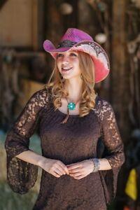 New Unisex  Hand crafted Genuine Panama Cowboy Western Hat - PINK FLOWER