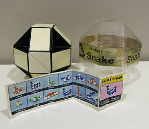 Vintage original 80s Snake Rubik's Cube Puzzle- Black and White Version - 1980's