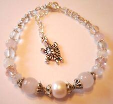 gemstone fertility love healing bracelet moonstone rose quartz pearl charm
