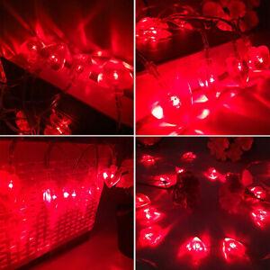 Love Heart Lights LED Red Heart Shaped Lights x10 Valentine Love Gift Decoration