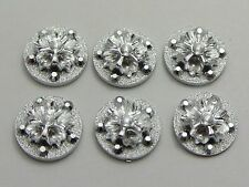 100 Silver Flatback Acrylic Glitter Froal Round Cabochons 12mm No Hole