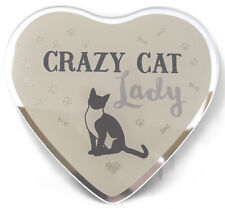 NEW Crazy Cat Lady Gifts Heart Glass Plaque Hanging Wall Sign Decoration Novelty
