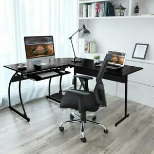 Corner Table L shaped for Computer Desk PC Laptop Home Office Workstation Black