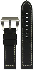 22mm Panatime Black Kevlar Style Watch Band w/White Stitching 22/22 125/75