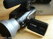 Canon HV40 HD MiniDv Camcorder Microphone Lens Manual AV USB Comp Cable Bundle
